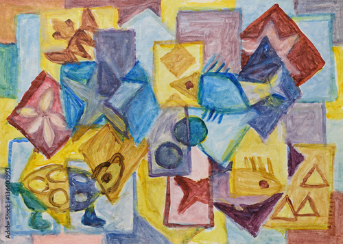 Cubist underwater world painting