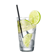 Gin And Tonic With Lime Isolat...