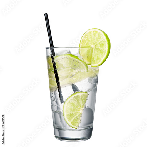 gin and tonic with lime isolated on white background Fototapet