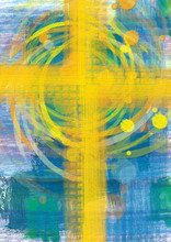 Yellow Cross On Blue Background, Christian Religious Abstract Artistic Background