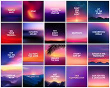 BIG Set Of 20 Square Blurred Nature Purple Pink Backgrounds. With Various Quotes