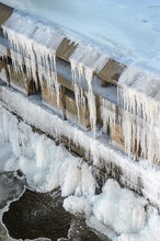 Dam Wall Is Covered With Frost...