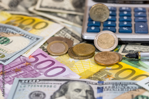 Usa Coin Euro Cent One Pound Lying On Dollar And Bills Calculator