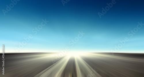 Fotografia, Obraz  Strada asfaltata con cielo blu - In viaggio verso l'infinito