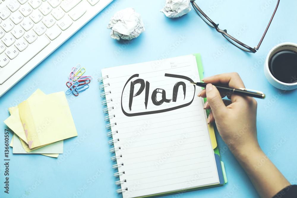 Fototapety, obrazy: woman written plan on notepad