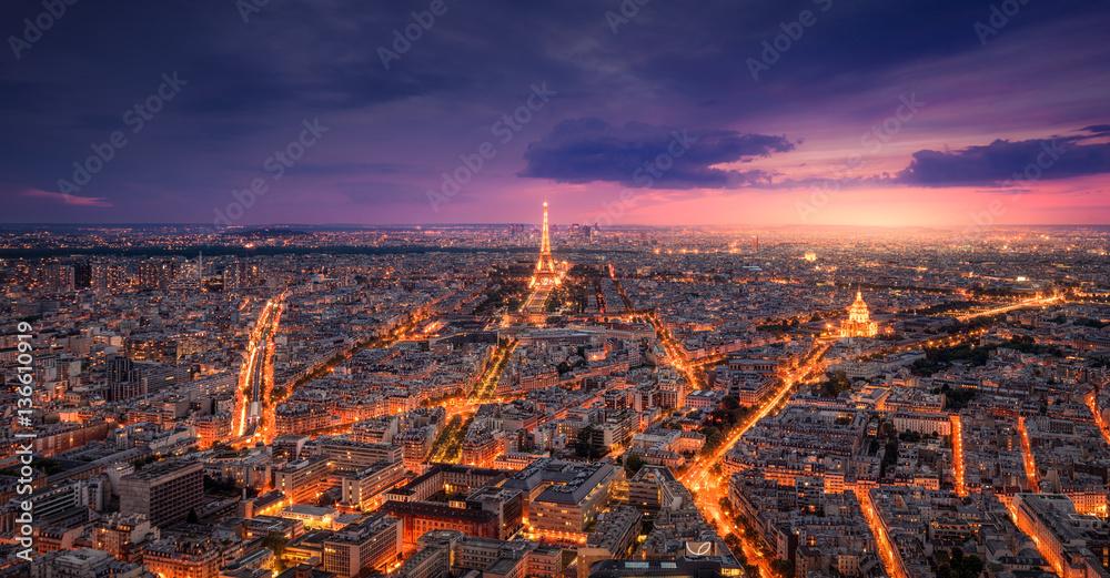 Fototapeta Paris View at Sunset