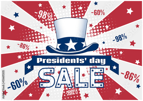 presidents day discount flyer card banner or poster template with