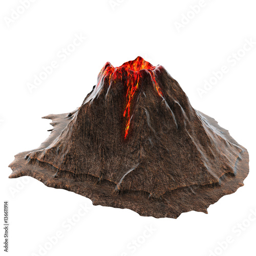 Fotografie, Obraz  Volcano lava without smoke on the isolatedbackground
