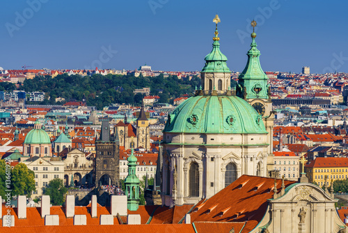 Fotobehang Praag Panoramic aerial view on the city's historic center from Hradcany, Prague, Czech Republic