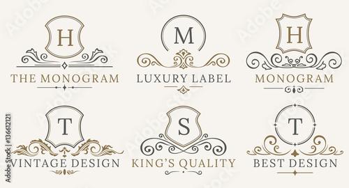 Fotografía  Retro Royal Vintage Shields Logotype set