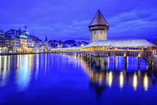 Chapel Bridge In Lucerne Old Town, Switzerland