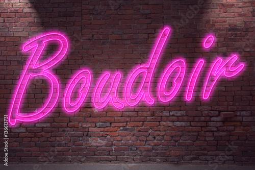 Fotomural Leuchtreklame Boudoir an Ziegelsteinmauer