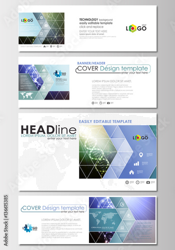 social media and email headers set modern banners business