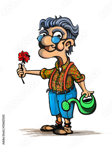Fotobehang Piraten Cartoon Illustration of Old man with flower in garden with watering can
