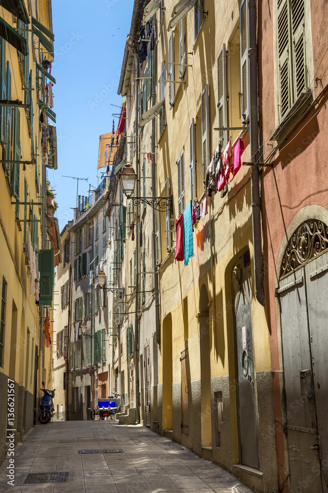 Old colorful houses in the center of Nice