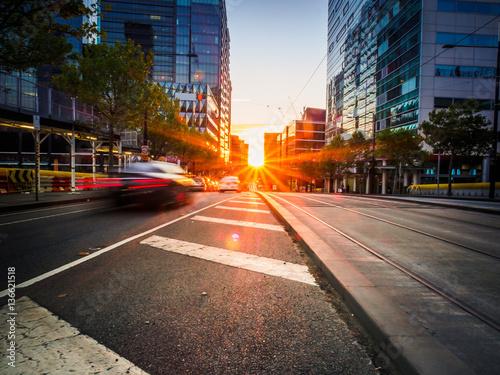 Foto op Plexiglas Chicago Sunset on City Street