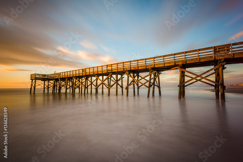 Canvas Prints Cappuccino Long exposure of the pier at Isle of Palms at sunrise, near Char
