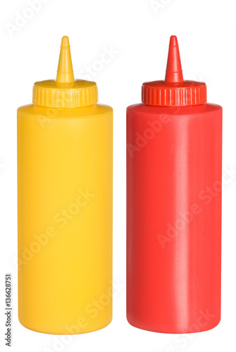 Cuadros en Lienzo  Ketchup and mustard squeeze bottles