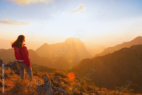 Foto op Canvas Diepbruine Traveller trekking on Doi Luang Chiang Dao Mountain. Chiang mai,