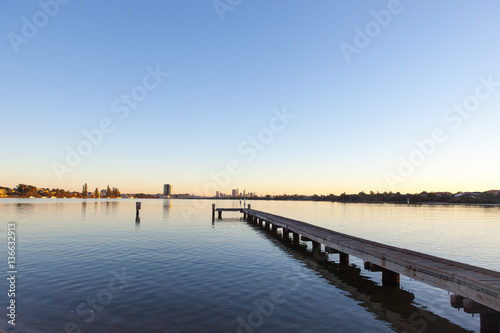 A jetty along Perth's Swan River in Western Australia Wallpaper Mural