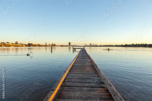 A jetty along Perth's Swan River in Western Australia Canvas Print