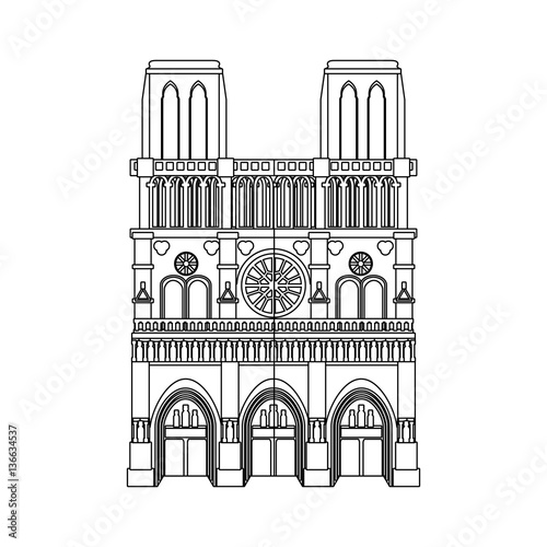 notre dame cathedral icon over white background Fototapeta