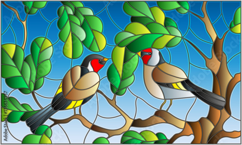 Illustration in stained glass style on the theme of summer, two goldfinches in the sky and oak  leaves