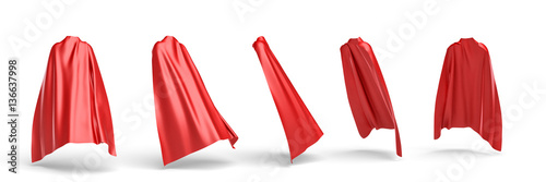 Fotografía  3d rendering of a red cape draped over invisible silhouette in five different points of view
