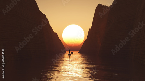Fotobehang Chocoladebruin 3D yacht sailing towards a sunset sky