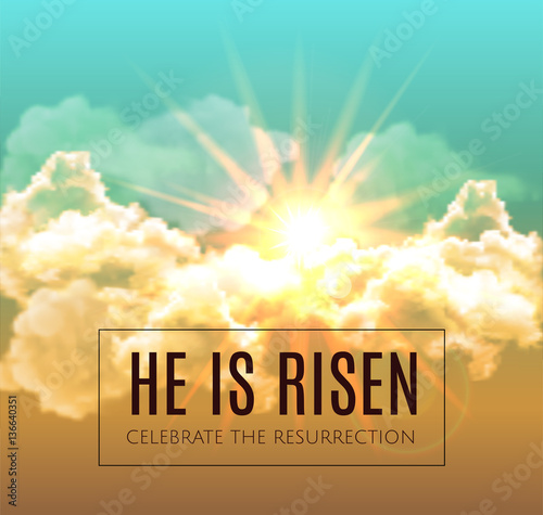 He is risen. Easter background. Vector illustration - Buy this ...