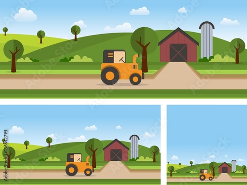Photo Stands Turquoise Farm Landscape Flat Design Style Vector Illustration, Hills, Tractor, Framhouse