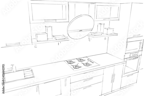 Sketch Drawing Of 3d Modern Kitchen Interior With Round Hood Buy