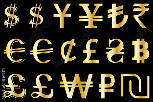 Set Symbols Of The Leading World Currencies Vector Illustration