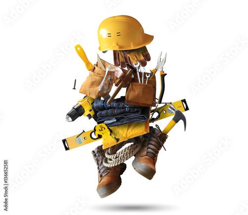 Narzędzia budowlane z butami i hełmem