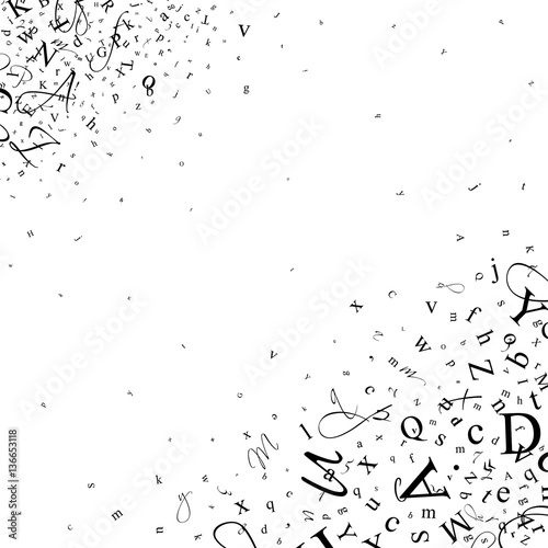 Fotografie, Obraz  Abstract background of letters and digits.