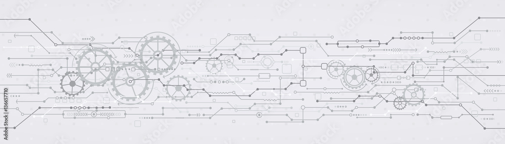 Fototapeta Technological background with gear wheels. Concept engineering technologies.