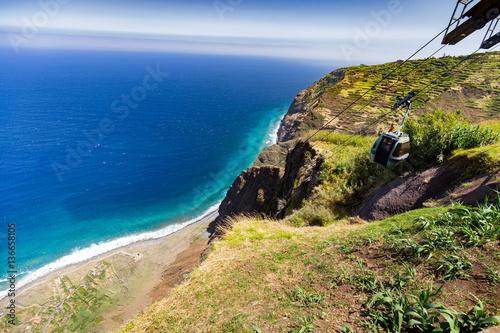 Tuinposter Centraal-Amerika Landen Madeira cable car on cliff