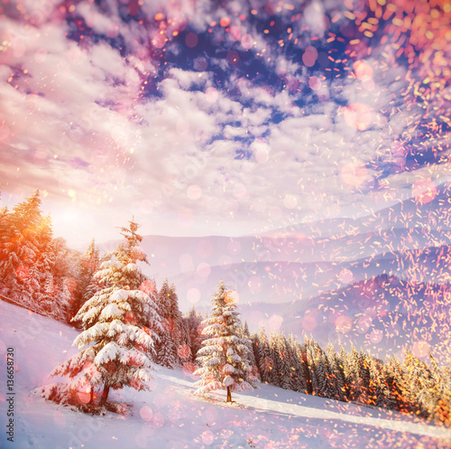 Tuinposter Zwavel geel Fabulous winter landscape in the mountains, background with som