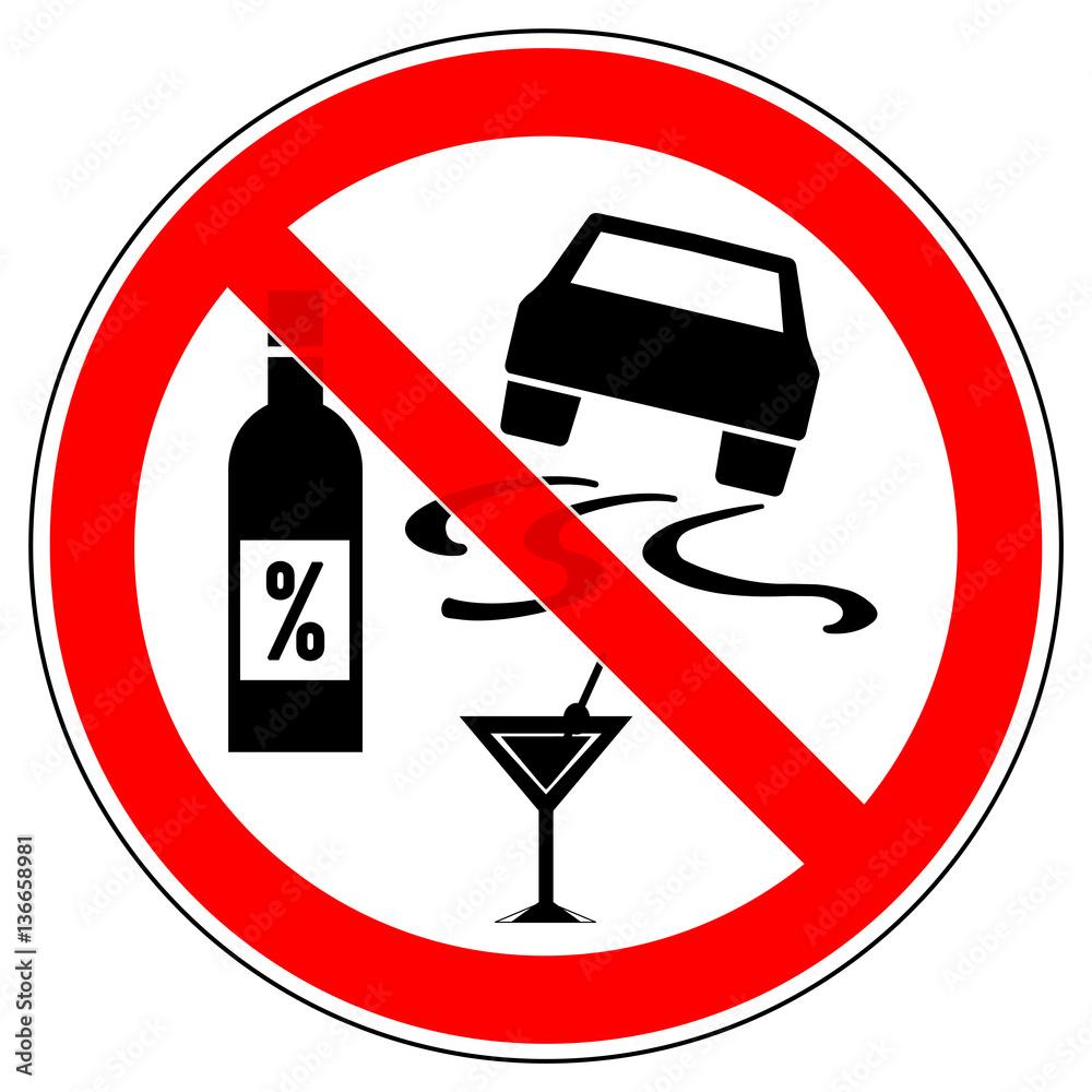 Srr133 SignRoundRed - german - Verbotszeichen: Autofahren / Alkohol ...