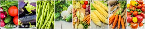 Poster Légumes frais Collage of different vegetables. Vegetarian food.