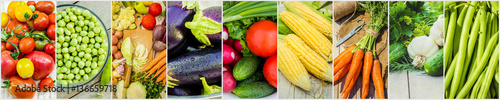 Wall Murals Fresh vegetables Collage of different vegetables. Vegetarian food.