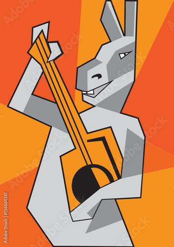 zabawny-osiol-z-gitara-na-pomaranczowym-tle