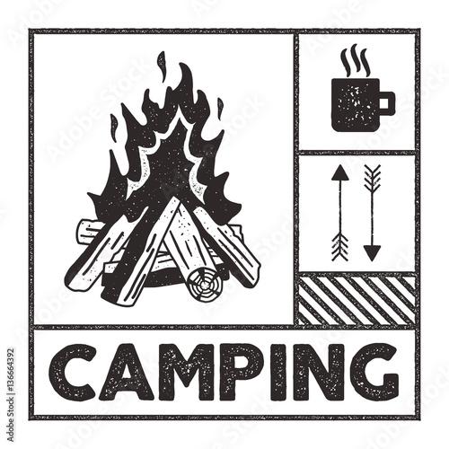 Wanderlust Camping Stamp Old School Hand Drawn T Shirt Print