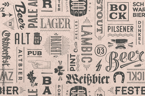 Fotografia, Obraz Seamless pattern with types of beer and hand drawn lettering for bar, pub, cafe, fest and party