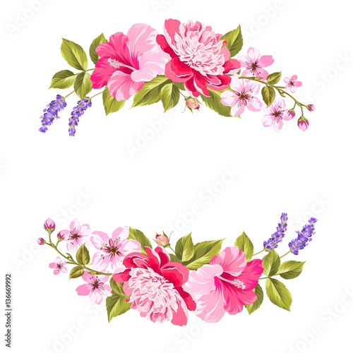 Fototapeta Tropical Flower Garland Free Copy Space Invitation Card With Floral Garland Vector Illustration