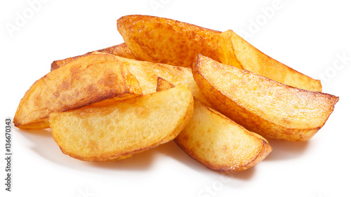 Fotografia Baked roasted poato chips slices, paths