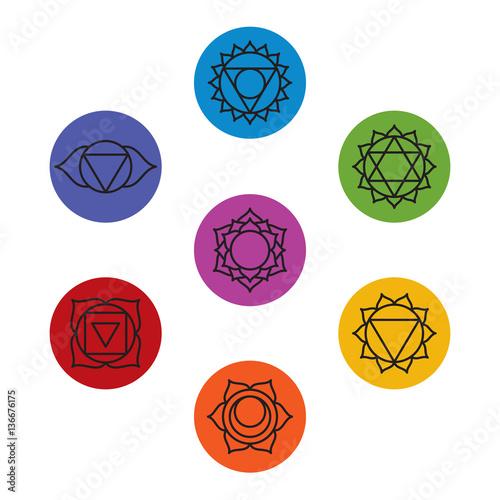 Photo  Set of seven chakra symbols. Yoga, meditation. Vector