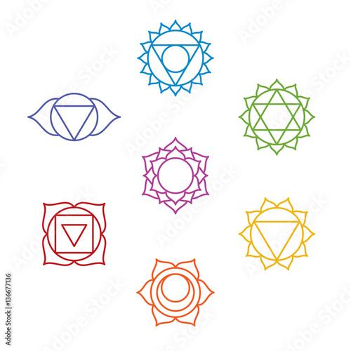 Set of seven chakra symbols. Yoga, meditation. Vector Canvas Print