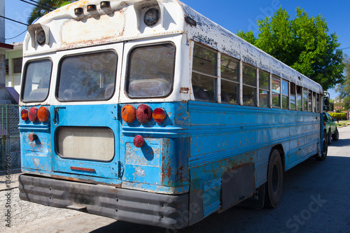 Typical Old School Bus Parked On The Havana Street Cuba Buy This
