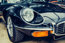 Classic Car. Beautiful Retro Style Transport Exhibition